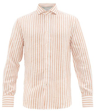 Brunello Cucinelli French Collar Striped Linen Shirt - White Multi