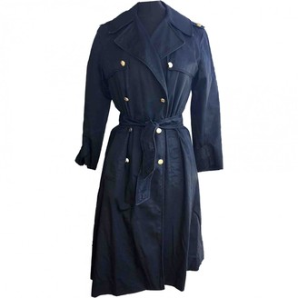 Celine Blue Cotton Trench Coat for Women Vintage