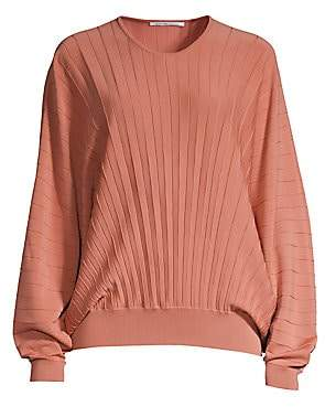 Agnona Women's Dolman Sleeve Pleated Wool Top