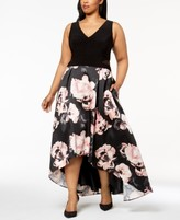 Xscape Evenings Plus Size Solid & Floral-Print High-Low Gown