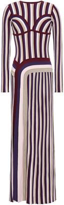 Gabriela Hearst Elisabeth Pleated Striped Wool Maxi Dress