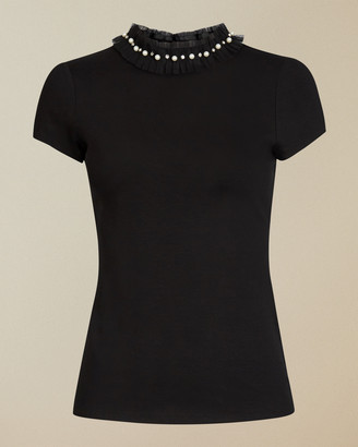 Ted Baker YHENNI Tee with pearl neck detail