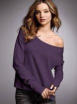 Cotton & cashmere off-the-shoulder boatneck sweater