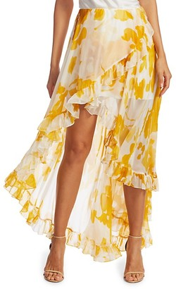 Caroline Constas Adelle Ruffle High-Low Skirt