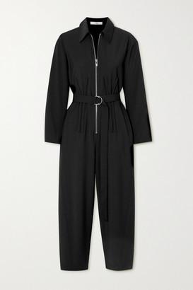 Tibi Cropped Belted Crepe Jumpsuit - Black