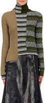 Maison Margiela Women's Mixed-Knit Turtleneck Sweater-GREEN