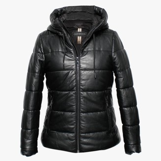 Oakwood Mary Jessie Black Leather Hooded Padded Bomber Jacket