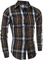Deer Gary New Men's Classic Grid Casual Long Sleeve Shirts