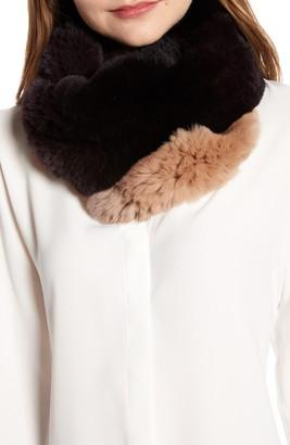 La Fiorentina Genuine Rex Rabbit Fur Ombre Infinity Scarf