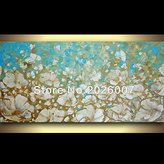 Mermaid Art Hand Painted Brown Blue White Poppies Landscape Modern Palette Knife thick oil painting Canvas Wall Decor Living Room Artwork Fine Art (24x48inch)