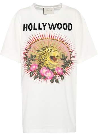 Gucci Printed and embroidered cotton T-shirt