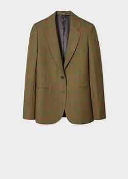 Women's Khaki Check Two-Button Wool Blazer