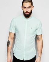 Farah Shirt With Seersucker Stripe Slim Fit Short Sleeves