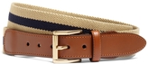 Brooks Brothers Striped Canvas and Leather Belt