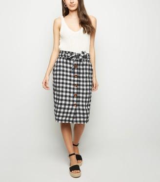 New Look Gingham Linen Blend Midi Skirt