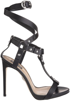 DSQUARED2 Crossed Ankle Straps Leather Sandals