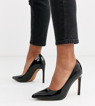 Asos Design DESIGN Porto pointed high heeled court shoes in black patent