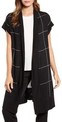 Anne Klein Windowpane Short Sleeve Long Cardigan
