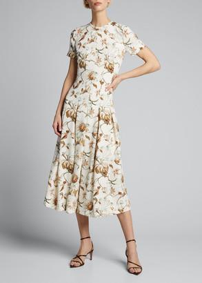 Oscar de la Renta Floral-Print Pleated Day Dress