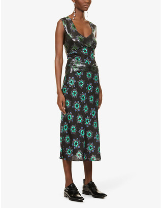 Paco Rabanne Geometric-print crepe and chainmail midi dress