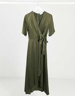 Closet London Closet satin pleated midi wrap dress in khaki