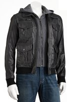 hooded leather bomber jacket men - ShopStyle