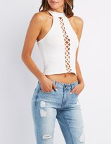 Charlotte Russe Choker Neck Lattice-Front Top