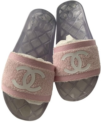 Chanel Pink Cloth Mules & Clogs