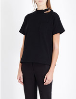 Sacai Buckle-detail cotton-jersey t-shirt