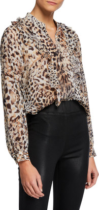 L'Agence Nadine Printed Ruffle Button-Down Blouse