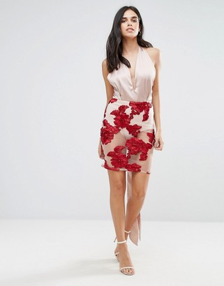 Love & Other Things Midi Dress With Embroidered Skirt
