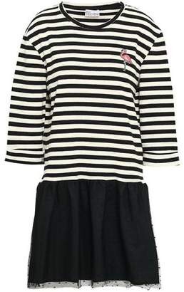RED Valentino Appliqued Striped Cotton-blend And Point D'esprit Mini Dress