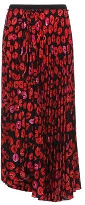 Marni Pleated Lip-print Crepe Midi Skirt - Black Print