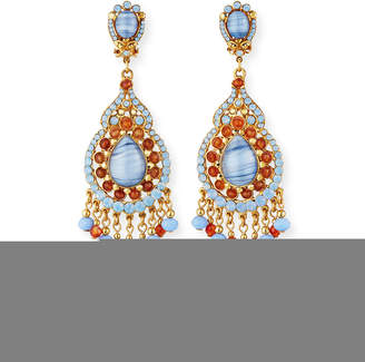 Jose & Maria Barrera Opalescent Teardrop Chandelier Clip Earrings