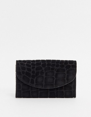 Urban Code Urbancode real leather and suede foldover purse-Black