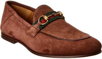Gucci Brixton Horsebit Web Suede Loafer