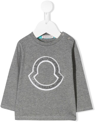 Moncler Enfant glitter logo patch T-shirt