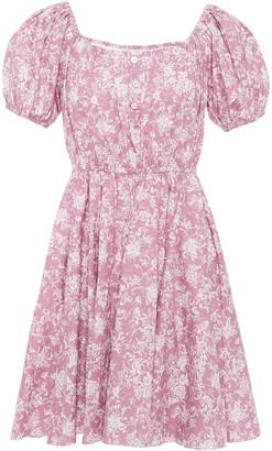 Caroline Constas Bardot Floral-print Stretch-cotton Poplin Mini Dress