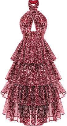 Rasario Draped Sequined Tulle Midi Dress With Ruffled Skirt