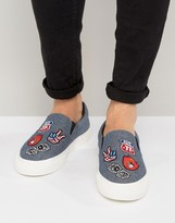 Asos Slip On Sneakers In Chambray With Badging