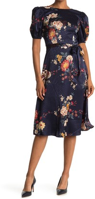 London Times Floral Puff Sleeve Satin Jacquard Dress