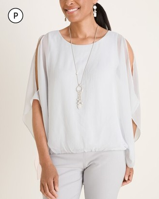 Chico's Petite Sheer Cold-Shoulder Blouse