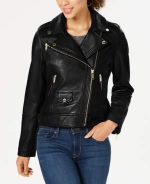 Michael Kors Michael Petite Leather Moto Jacket
