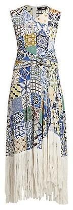 Rokh Fringe Hem Tile Print Midi Dress