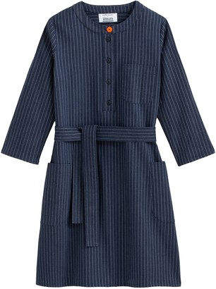 About A Worker X La Redoute Striped Flared Mid-Length Dress with Tie-Waist and Long Sleeves