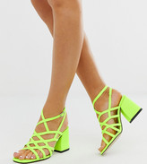 Asos Design DESIGN Wide Fit Winning strappy block heeled sandals in neon yellow