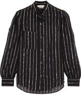 Etoile Isabel Marant Samson Metallic-trimmed Cotton-gauze Blouse - Black