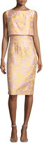 Badgley Mischka Sleeveless Popover Sheath Dress