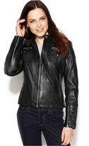 MICHAEL Michael Kors Seamed Zip-Front Leather Jacket