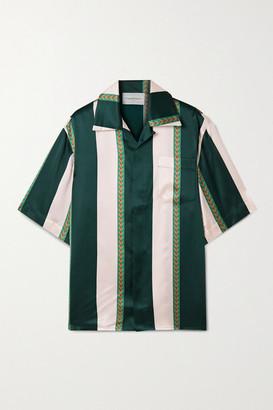 Casablanca Laurel Striped Silk-satin Shirt - Green